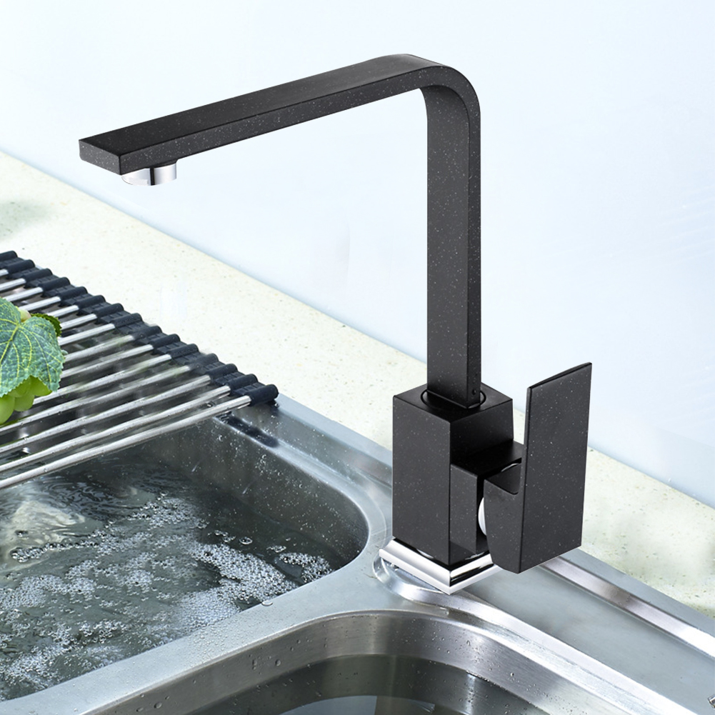 Swivel Design Cold-Hot Water Easy Install Rotating Spray Single Level Mixer Tap Square Brass Flat Tube Kitchen Faucet Sink BasinSwivel Design Cold-Hot Water Easy Install Rotating Spray Single Level Mixer Tap Square Brass Flat Tube Kitchen Faucet Sink Basin