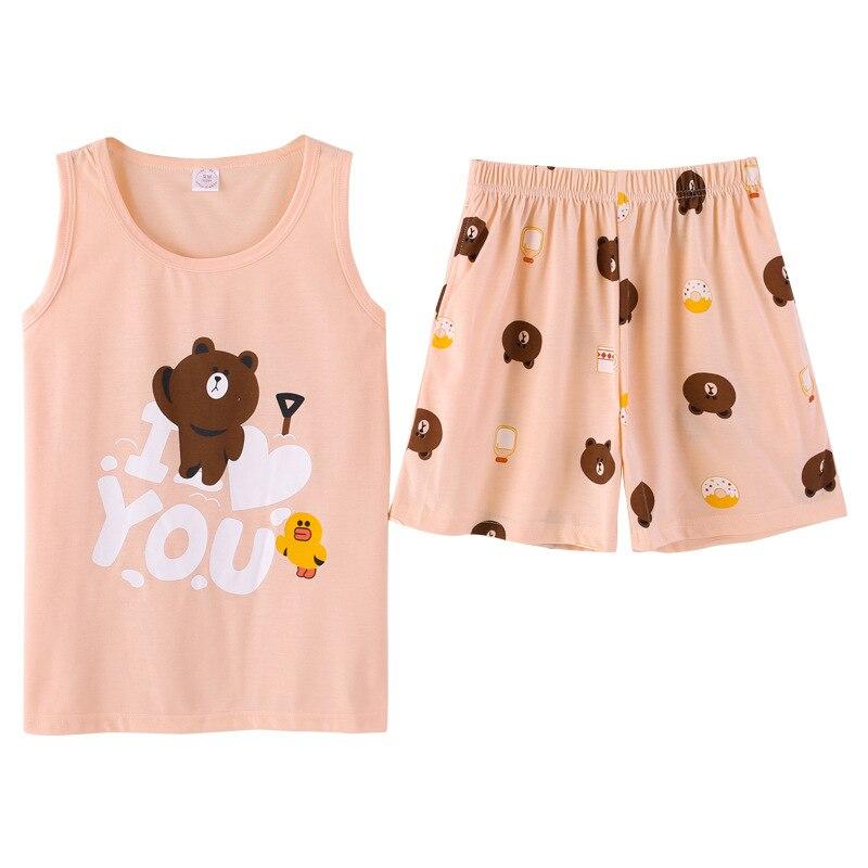 Summer 2018 Cute Cartoon Bear   Pajamas   Women Girls   Pajama     Set   Tank Top Elastic Waist Shorts Pocket Cotton Lounge pyjamas S85302