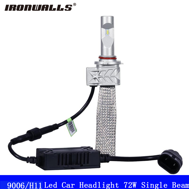 Ironwalls Led 9006 H11 Car Headlight Bulbs 72W Cree Csp Chips 6500K 8000Lm Single Beam Auto Front Headlamp Kit DC 12V 24V ironwalls h11 led car headlight bulbs cree csp chips 72w 8000lm 6500k auto front fog light headlamp 12v 24v for ford toyota