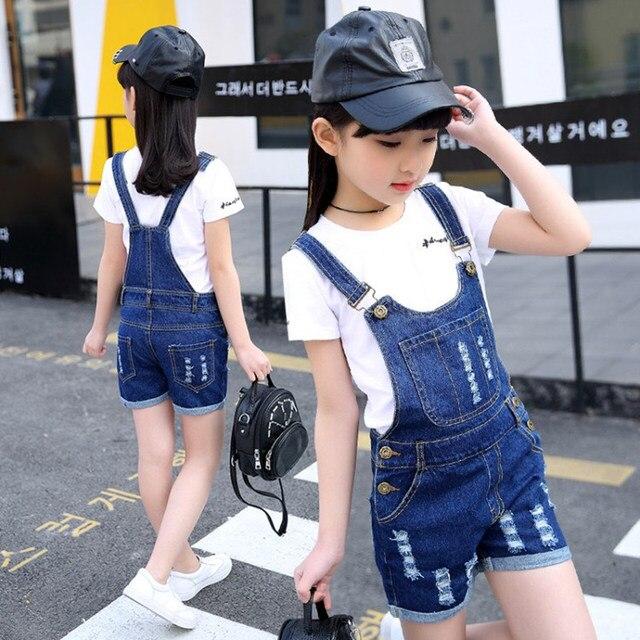 Комбинезоны для девочек для детей комбинезоны Повседневное Джинсовые укороченные брюки летние детские Джинсовые штаны на лямках/джинсы Vestidos 4 5 7 9 11 13 14Y
