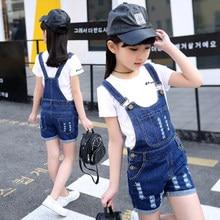 Girls Overalls For Kids Jumpsuit Clothes Casual Denim Short Pants Summer Baby Denim Bib PantsJeans Vestidos 4 5 7 9 11 13 14Y
