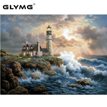 GLymg Diy Diamond Painting Cross Stitch Lighthouse Seaside Scenery Full Drill Paint By Diamonds Wall Stickers Living Room Decor
