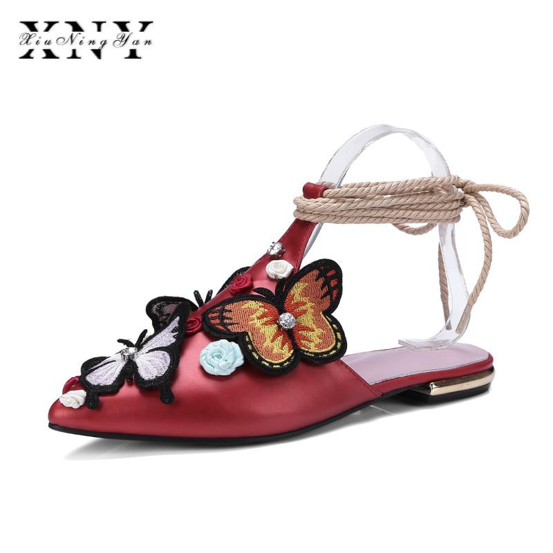 Rosa Verano 2018 Mujer Apliques Xiuningyan rojo Tacón Bombas Bajo Las Mujeres rosado Flip Mules Marca Negro Señoras Plataforma Zapatos Para Negro Flops UBqn5