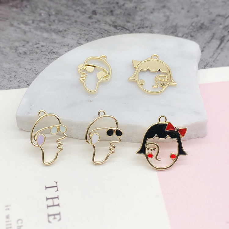 New style 40pcs/<font><b>lot</b></font> <font><b>Fun</b></font> abstract hat boys/bow girl face shape alloy floating locket charms diy <font><b>jewelry</b></font> earring pendant accessory image