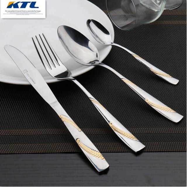 KTL 4 Pcs/set Gold Plated Dinnerware Set Stainless Steel Gilded Dinner Knife and Fork & KTL 4 Pcs/set Gold Plated Dinnerware Set Stainless Steel Gilded ...