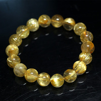 Natural Genuine Arrange Titanium Gold Hair Rutile Quartz Cat's Eye Stretch Bracelet Round Beads 11mm