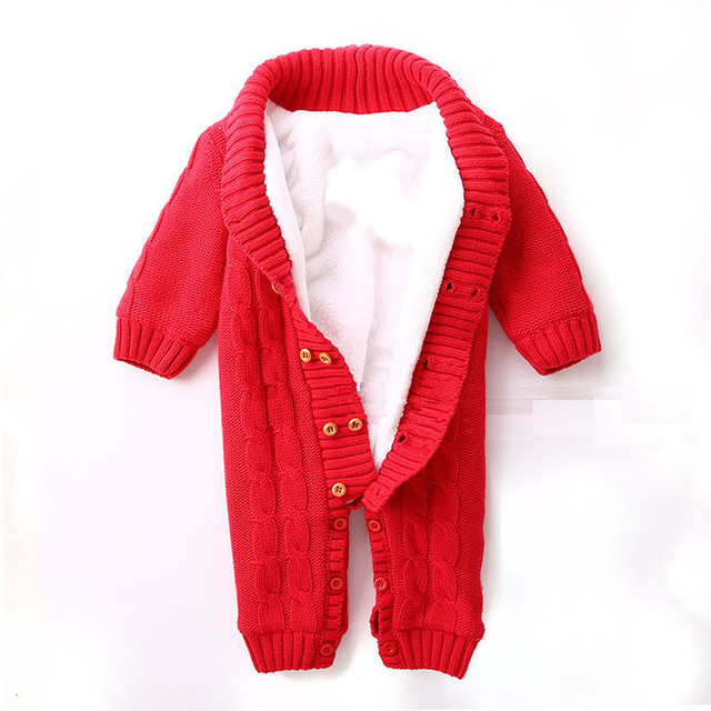 bea0389c159 100% Cotton Winter Newborn Baby Rompers Plus Velvet Warm Baby Girls Costume  Baby Boys Outfits Infant Clothing Baby Clothes