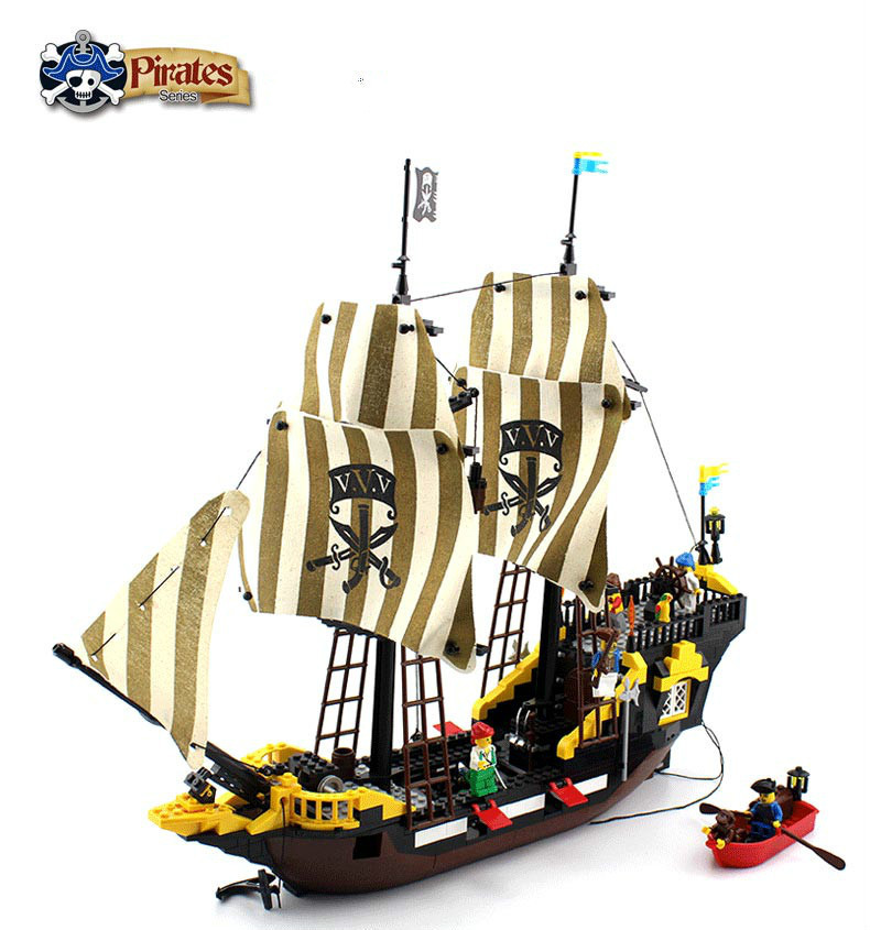 590Pcs Enlighten Pirate Series Toys Pirate Ship Weapons Assembling Building Block Bricks Set Compatible With Lepin Friends