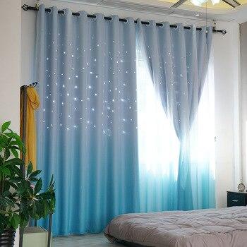 Pastoral cortinas Blackout para sala de estar comedor tela Hollow ...
