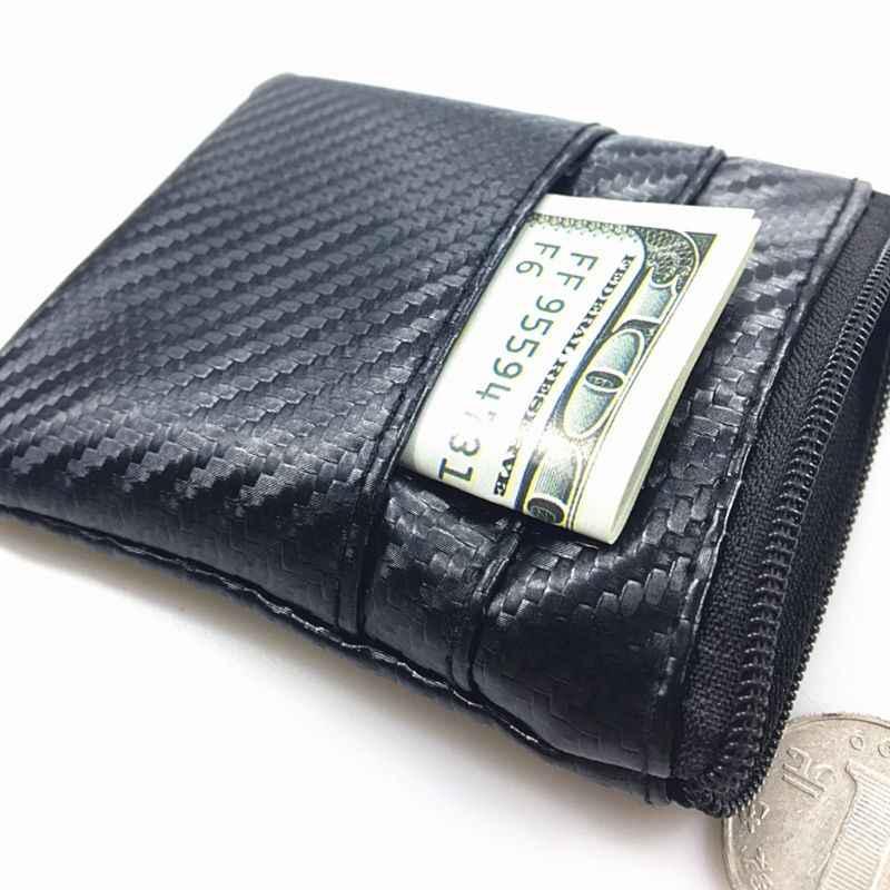 Serat Karbon Ringan Pola Kulit Koin Kartu Dompet Kunci Kantong Mini Dompet Zipper Perubahan Kecil Tas untuk Wanita Pria