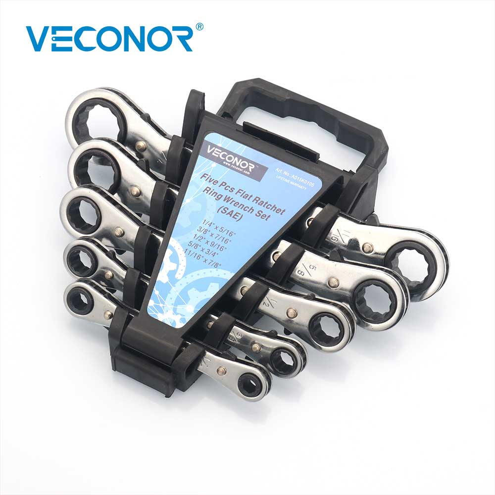 5PCS Flat Ratchet Ring Wrench Spanners Set Imperial 2-Way Reversible CRV Steel Professtional Hand Tool5PCS Flat Ratchet Ring Wrench Spanners Set Imperial 2-Way Reversible CRV Steel Professtional Hand Tool
