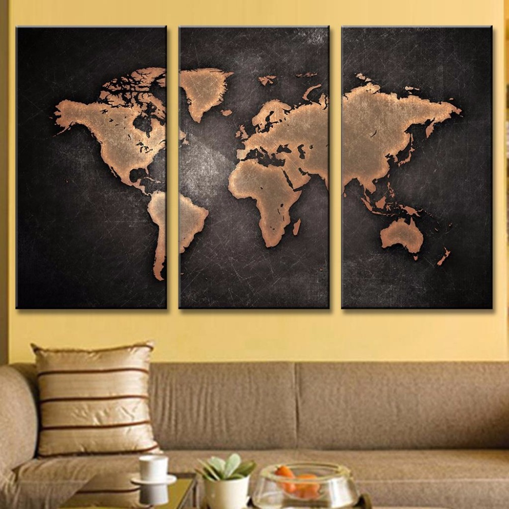 Gold World Map Wall Art.Abstract Black Gold World Map Canvas Wall Art Painting Framed 3