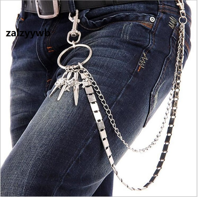 New fashion Men 2 Strands Silver Metal Wallet Chain Fashion Skull Boxing  Jab Keychain Rock Biker Heavy Jeans Chain 2 Layers 140G ae9873bb38a37
