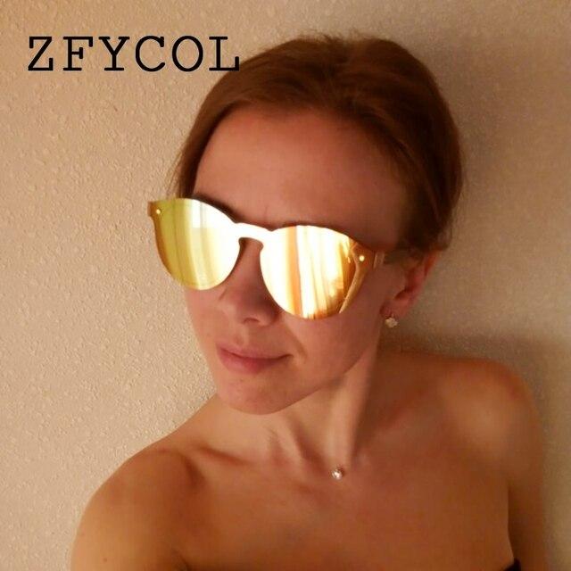 83050eb1ee ZFYCOL 2018 mode sans monture ronde miroir lunettes de soleil femmes marque  de luxe Design Original