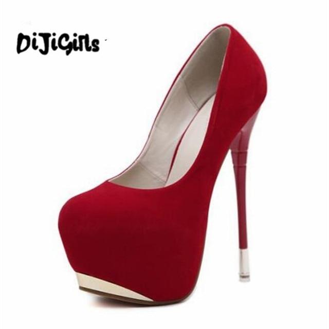 aca2a04e048 US $20.49 10% OFF|Fashion Women Sexy Extreme Ultra High Heel Designer Shoes  Platform Pump Fine 35 40 Wedding Shoe Size Black Red -in Women's Pumps ...