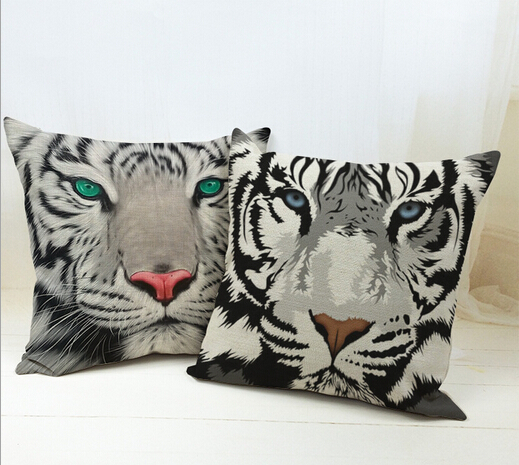 hot sale linen cushion 3d tiger printed for sofa decorative cotton throw sofa decor couch pillow