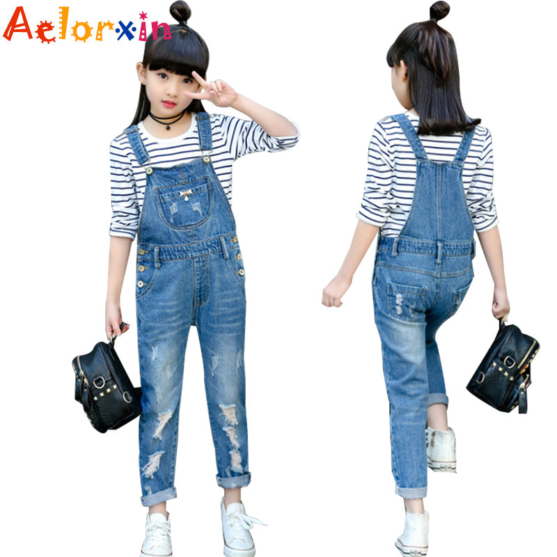 Kids Denim Overalls For Girls Jeans Spring Autumn Children Denim Pants Girls Trousers Casual School Costumes 4 5 7 9 11 12 Years afs jeep autumn jeans mens straight denim trousers loose plus size 42 cowboy jeans male man clothing men casual botton