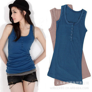 Fashion button tank thread 100% basic shirt cotton slim sleeveless small vest spaghetti strap