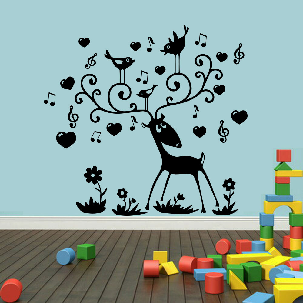 wall stickers for kids rooms music notes deer wall decal poster removable vinyl stickers muraux. Black Bedroom Furniture Sets. Home Design Ideas