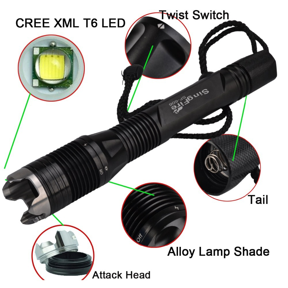 SingFire SF-606 800lm 4-Mode Diving Waterproof Led Flashlight w/ Cree XM-L T6, Battery Charger (2x18650) singfire sf 544 4 mode 2500lm white led bicycle light w cree xm l t6 black 4 x 18650