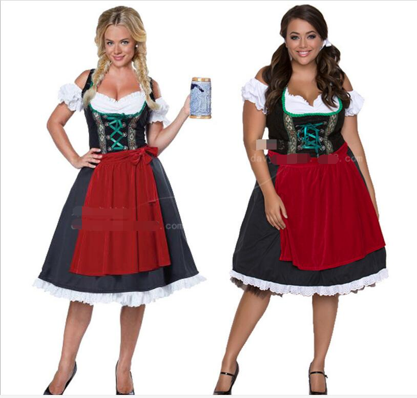 Drop Shipping Fashion Oktoberfest Beer Girl Costume Maid Wench Germany Bavarian Short Sleeve Fancy Dress Dirndl For Adult Women