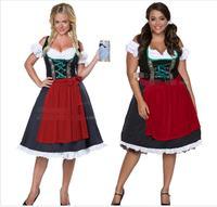 Drop shipping Fashion Oktoberfest Beer Girl Costume Maid Wench Germany Bavarian Short Sleeve Fancy Dress Dirndl For Adult Women