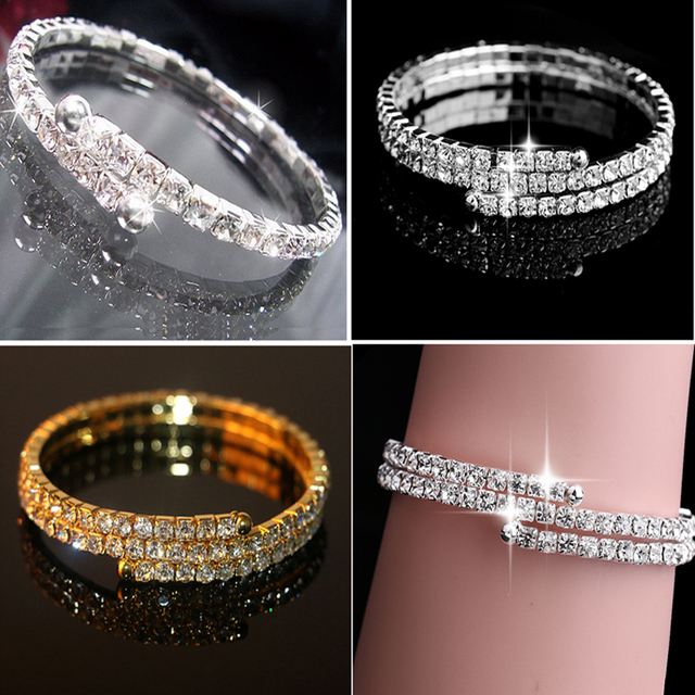 bfaf2fa4142 1/2 Rows Spiral Upper Arm Cuff Armlet Bracelet Armband Armlet Bracelets  Bangle For Women Jewelry