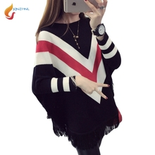 JQNZHNL 2017 New Spring Fall Women Striped Sweater Cloaks Fashion Batwing Sleeve Shirt Loose Casual Tassel Sweater Pullover L571
