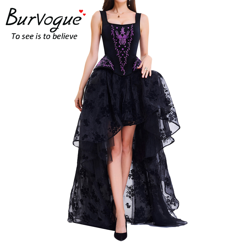 Burvogue Women Sexy Gothic Lace Steampunk Corset Dress Slimming Corsets Bustier Top Overbust Steel Boned Corset&Skirt sexy women s slimming printed lace up corset