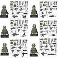 Military Armed Troops Cross Fire Jungle Commandos Camouflage mini  Army Soldiers Team figures with Weapon Toys Lepin Compatible