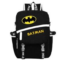 Freies Verschiffen Hohe Qualität New Fashion Batman Rucksack Junge Mädchen Schultaschen Für Jugendliche Leinwand Rucksäcke