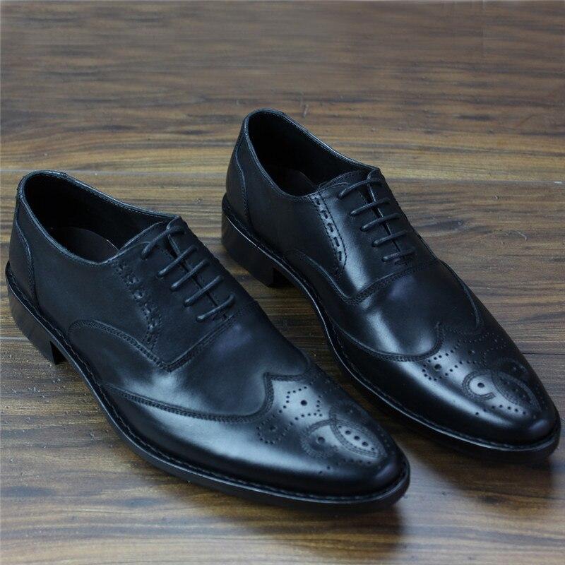 Robe Formelle Maloneda Pleine marron Main Mode Rétro Noir Fleur Nouvelle Bullock De Cuir Sculpté Chaussures Hommes Goodyear En Oxford wIIXFBqW
