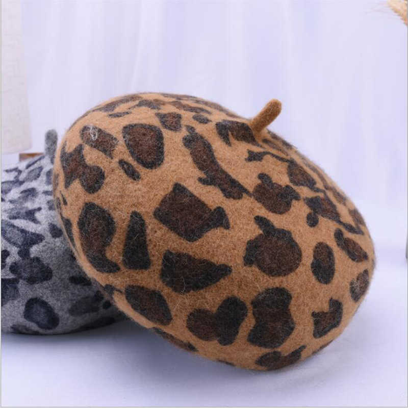 aee1610b6fc0c ... Ymsaid Autumn Winter High Quality Vintage Leopard Print Beret Women  Artist Cap Ladies Wool Kin Beret ...
