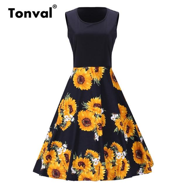 46d21263b448 Tonval Vintage Sunflower Print Patchwork Dress Sleeveless Casual Plus Size  Black Dress Women A Line Floral Midi Dresses