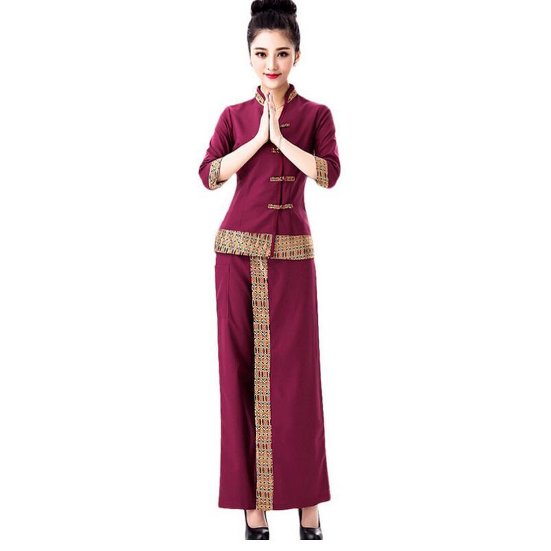 Thailand style spa salon work suit trousers beauty fashion for Uniform spa thailand
