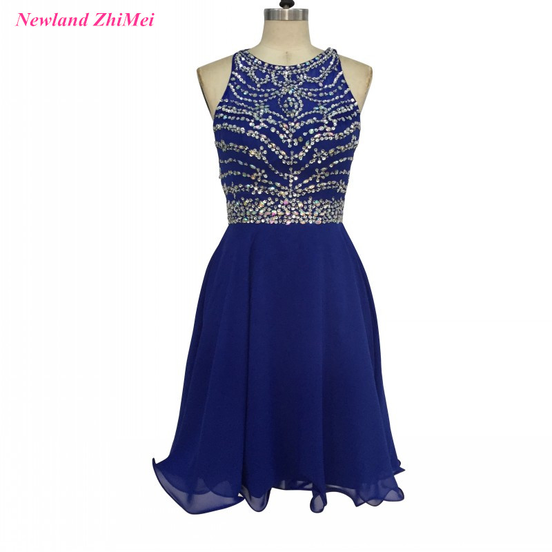 Custom Made Beaded   Cocktail     Dresses   Sexy Royal Blue O Neck Open Back Chiffon Party   Dress   abiti da   cocktail