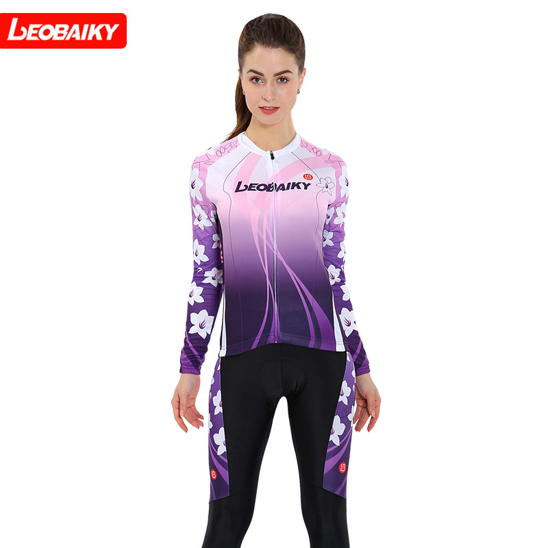 LEOBAIKY Pro team Long Sleeve Cycling jersey Sets Women Sportswear ropa ciclismo Mtb Bike Bicycle 3D Gel Pad Cycling Clothing