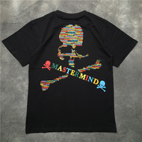 Mastermind T Shirt Women Men 1:1 High Quality 2018 Summer T shirts Skeleton Mastermind Japan Rainbow letter Top Tee Black white
