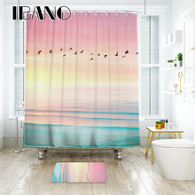 IBANO Sea Scenery Shower Curtain Waterproof Polyester Fabric Bath Curtain For The Bathroom Decoration With 12pcs Plastic Hooks natural sea rocks scenery print waterproof shower curtain