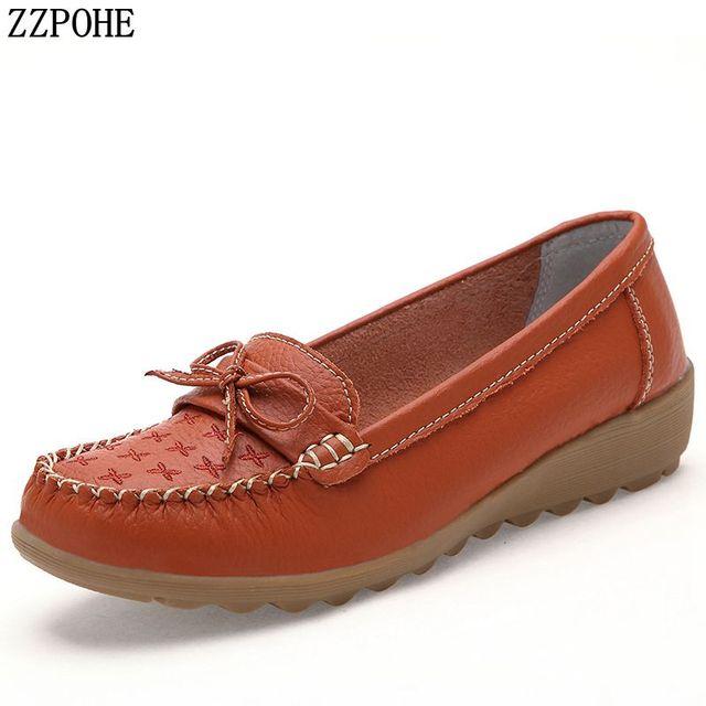 099ec703b ZZPOHE 2019 Primavera Outono Mulheres Genuínas Sapatos de Couro Mulheres  Apartamentos Macios Slip On Calçados Femininos