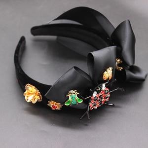 Image 5 - New Baroque exaggerated wild headband  beetle bee bow hair accessories fashion ball wild headband 594