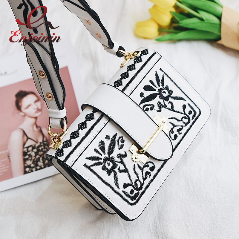 Embroidery fashion geometric pattern new design pu leather female shoulder bag handbag casual ladies crossbody messenger
