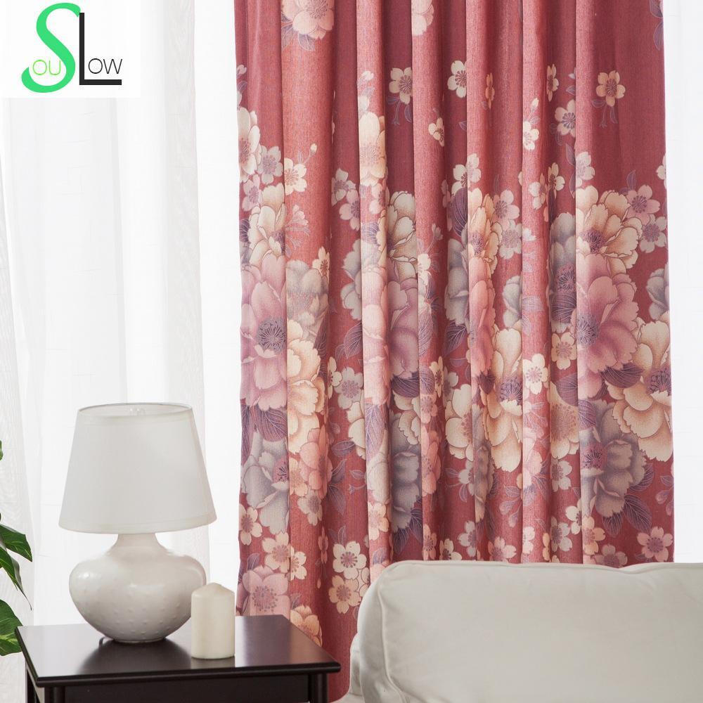 estilo japons cereza roja cortina de tela floral pastoral moderna ventana de cortinas para la sala