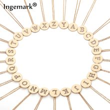 Ingemark Korean A-Z Letter Initial Choker Necklace Simple Carved Coin Name Pendant Thin Long Chain Necklace Women Birthday Gifts(China)