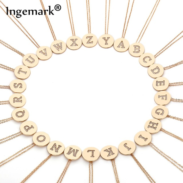 Ingemark Korean A-Z Letter Initial Choker Necklace Simple Carved Coin Name Pendant Thin Long Chain Necklace Women Birthday Gifts