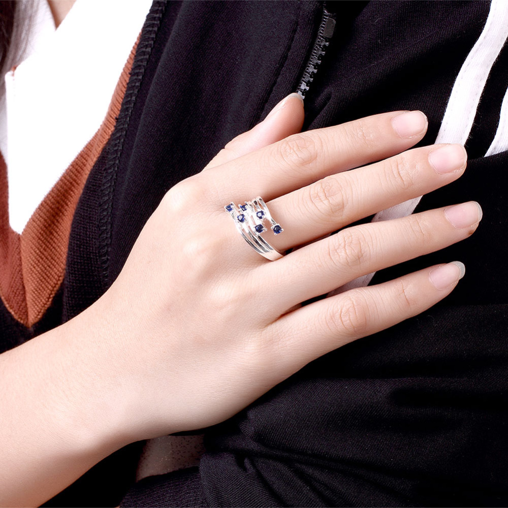 Hot Sale Silver Plated Ring Blue Crystals Pave Cubic Zircon Stone ...