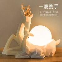 Nordic современный геометрический Art олень абстрактная скульптура дикой природы олень смолы статуя фигурка Лось Лаки олень настольная лампа