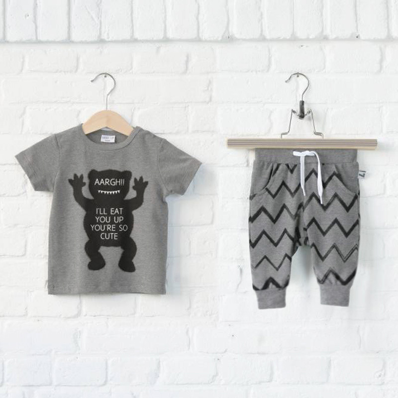 2015 summer style little monster baby boys sports clothing set 1-6 years t-shirts with short pants=2 pcs/set cotton kids clothes 2017 little maven 1 6 years baby girls set quality brand short sleeve t shirt shorts 100% cotton kids summer clothes set kf175