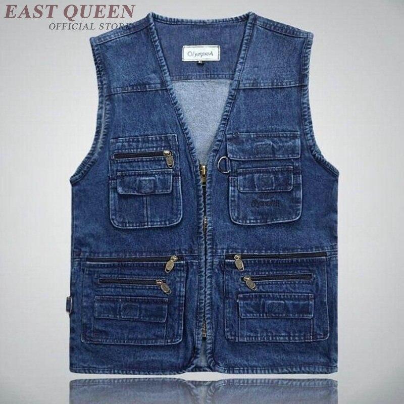 Dernières conceptions de gilet pour hommes jeans denim gilets homme avec beaucoup de poches mode tactique gilet hommes sans manches veste DD1207
