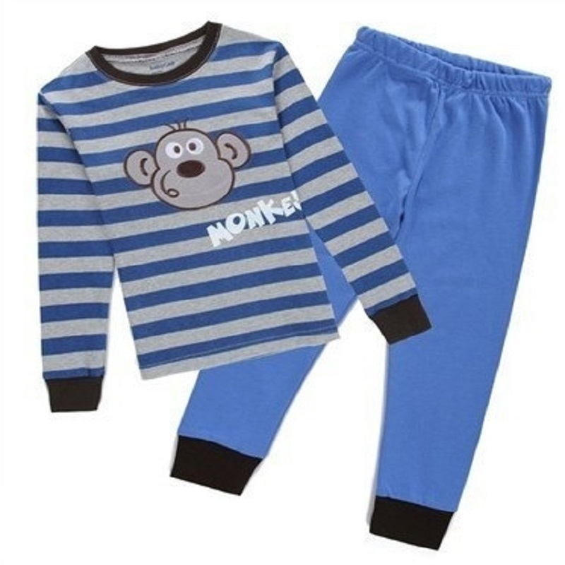Monkey Boys Pajamas 2-Pieces Clothes Baby Pyjamas Sleeve Children Sleepwear Clothing Set Kids PJ'S Infant T-Shirt Pant Cotton 2018 kids girls clothes set baby girl summer short sleeve print t shirt hole pant leggings 2pcs outfit children clothing set